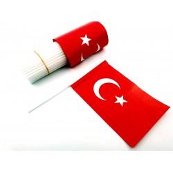 Kağıt Bayrak Çubuklu 100 Adet  Türk Bayrağı ( 12 x 18 cm )