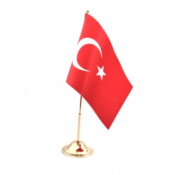 Masa Bayrağı Direkli Türk Bayrağı  ( Altın Rengi Kaplama )