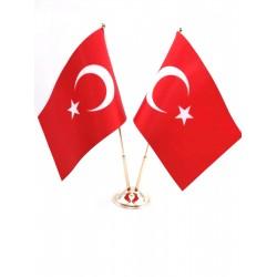 Masa Bayrağı Çiftli Direkli Türk Bayrağı  (Krom Rengi Kaplama )