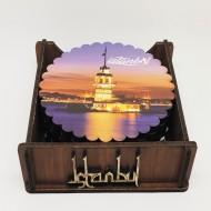 Ahşap Bardak Altlığı 6 lı Yuvarlak İstanbul Desen (Bardak Altlığı) by www.tahtakaledeyiz.com