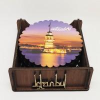 Ahşap Bardak Altlığı 6'lı Yuvarlak İstanbul Desen