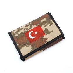 Asker Cüzdanı Kamuflaj & Türk Bayrağı Baskılı ( Boyun İpli )