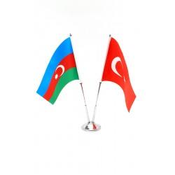 Masa bayrağı Çiftli Azerbaycan-Türkiye Bayrağı