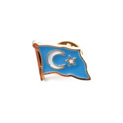 Doğu Türkistan bayrağı Rozeti (Gök bayrak)-30'lu